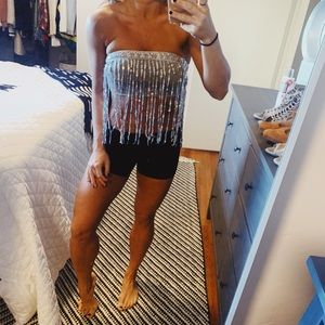 Grey tube top with sparkle fringe